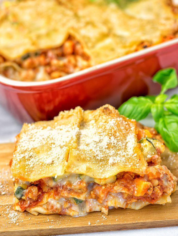 Creamy Carbonara Vegetarian Lasagna