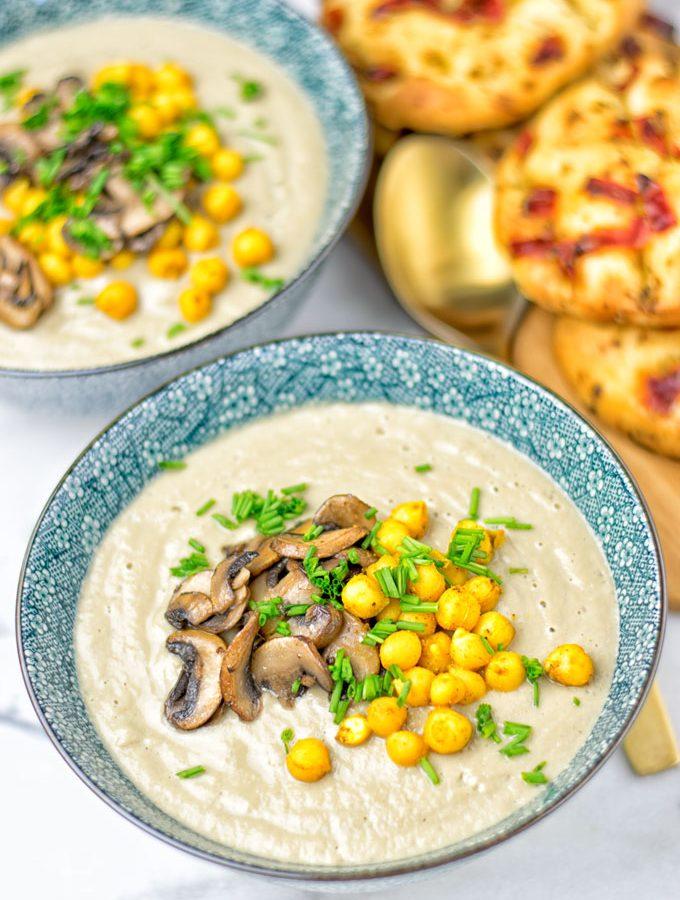 Roasted Chickpeas Cream of Mushroom Soup