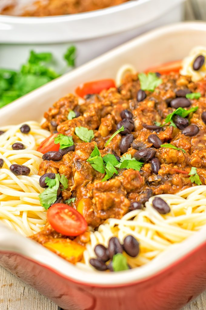 Vegetarian Cincinnati Chili | #vegan #glutenfree #contentednesscooking #plantbased #dairyfree