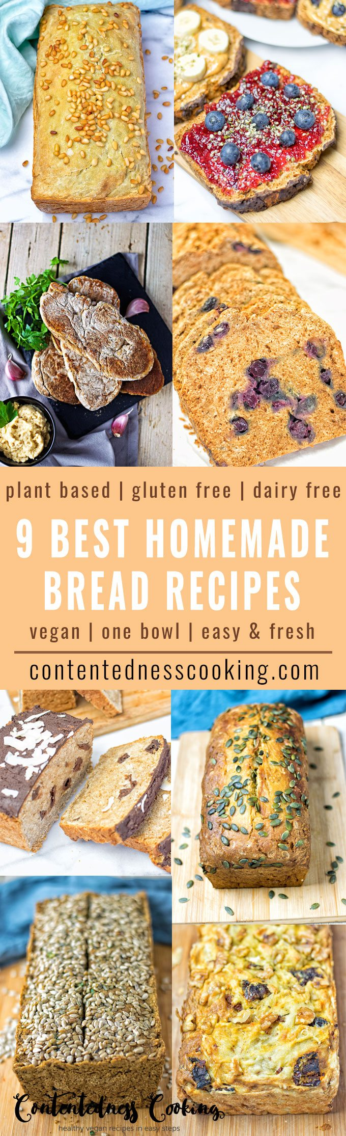 9 Best Homemade Vegan Bread Recipes | #vegan #glutenfree #contentednesscooking #plantbased #dairyfree