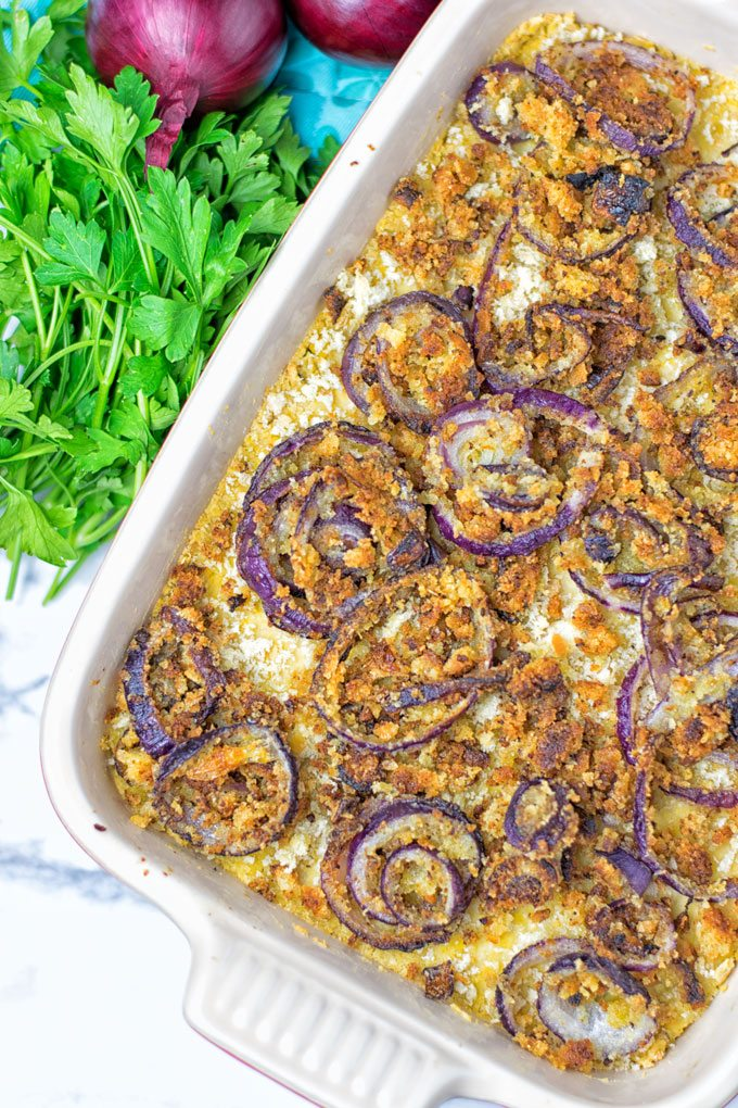 Closeup on the crunchy crust of this Chickpea Mash Green Bean Casserole