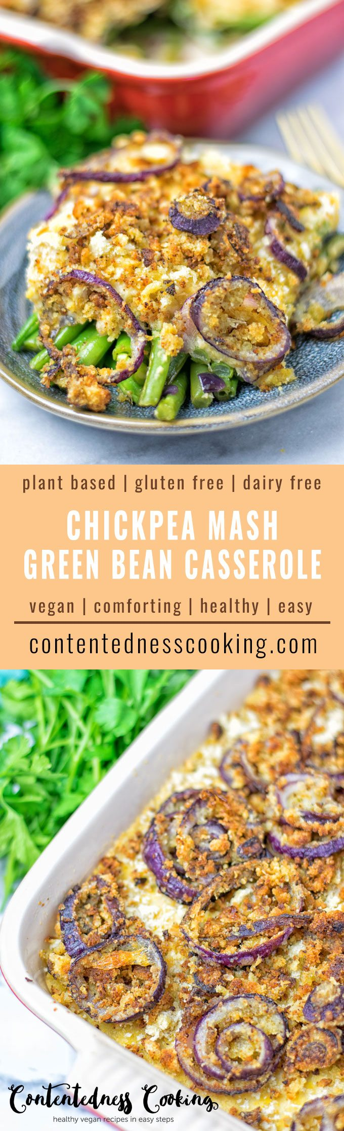 Collage of two pictures of this Chickpea Mash Green Bean Casserole with recipe title text.
