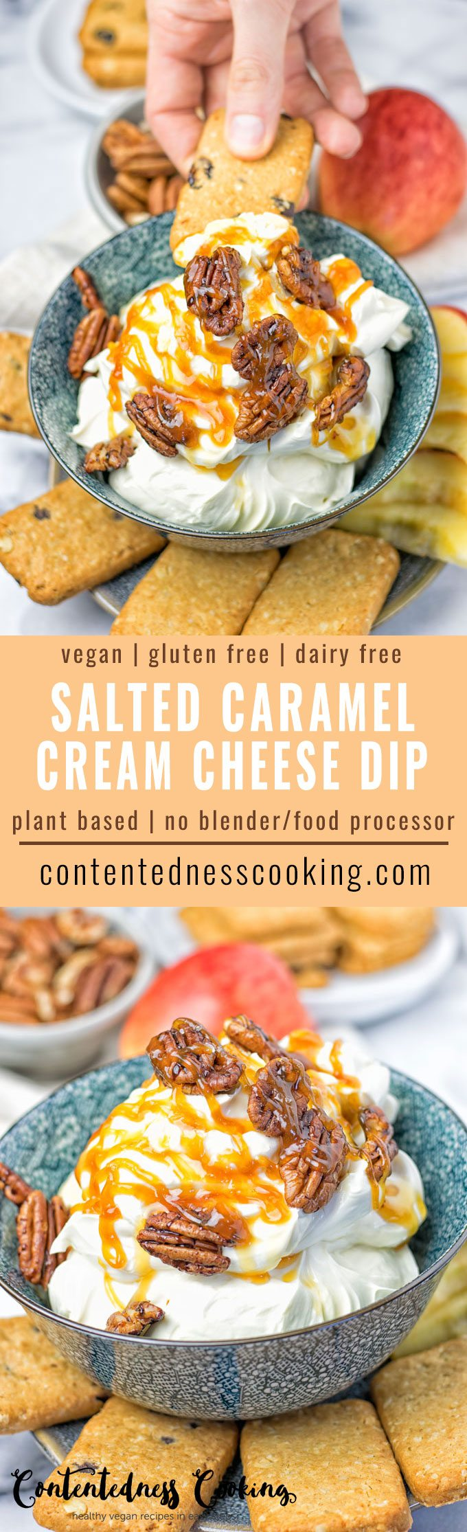 Salted Caramel Cream Cheese Dip | #vegan #glutenfree #contentednesscooking #plantbased #dairyfree
