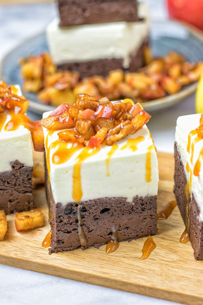Cheesecake Brownies with Caramel Apples | vegan glutenfree contentednesscooking plant based dairy free