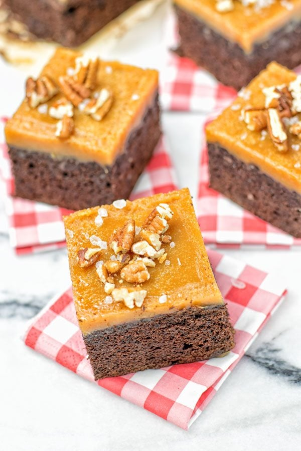 Salted Caramel Brownies with Maple Pecans   #vegan #glutenfree #contentednesscooking #plantbased