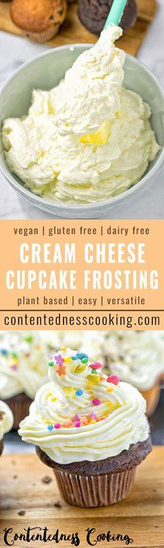 Vegan Cream Cheese Cupcake Frosting | #vegan #glutenfree #contentednesscooking #frosting