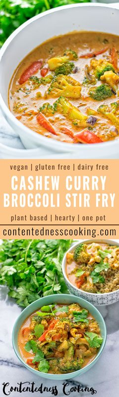Cashew Curry Broccoli Stir Fry | #vegan #glutenfree #contentednesscooking