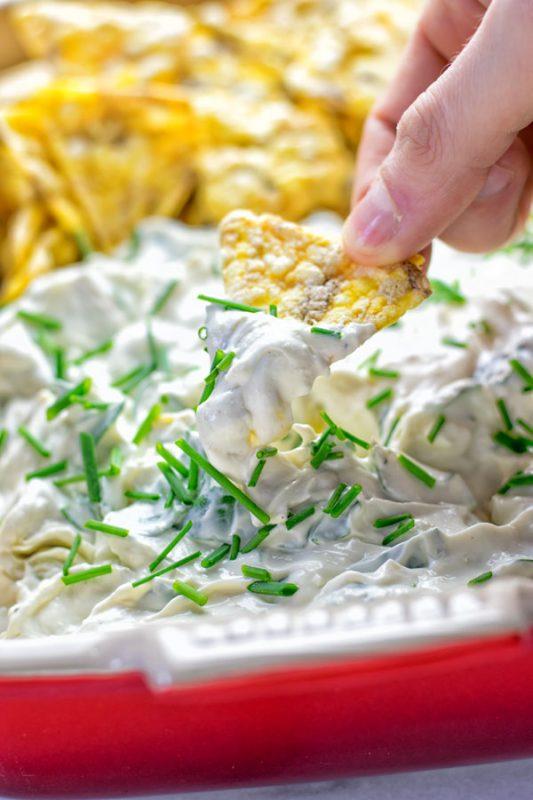 Creamy Spinach Artichoke Dip | #vegan #glutenfree #contentednesscooking