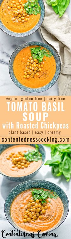 Tomato Basil Soup with Roasted Chickpeas | #vegan #glutenfree #contentednesscooking