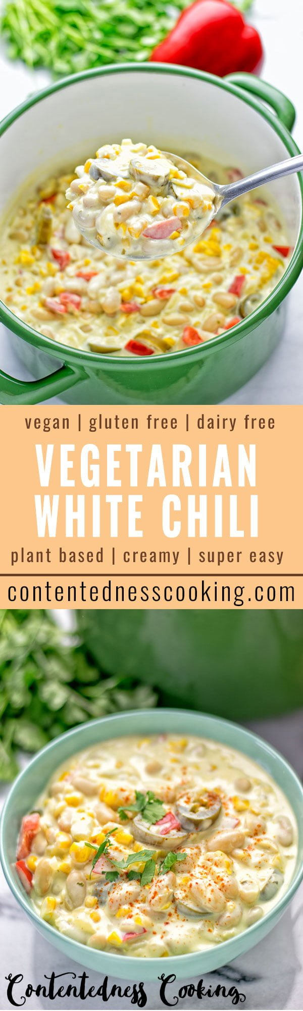 Vegetarian White Chili | #vegan #glutenfree #contentednesscooking