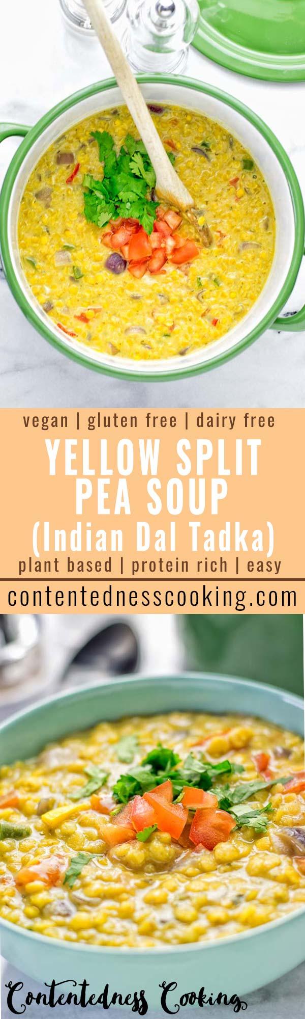Indian Yellow Split Pea Soup (Dal Tadka)   #vegan #glutenfree #contentednesscooking #soup