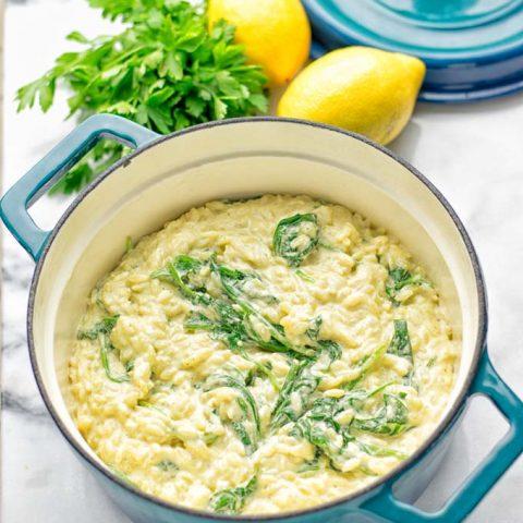 Creamy Spinach Orzo with Lemon Sauce | #vegan #glutenfree #contentednesscooking #plantbased #dairyfree
