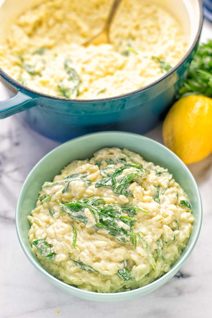 Creamy Spinach Orzo with Lemon Sauce | #vegan #glutenfree #contentednesscooking #plantbased #dairyfree