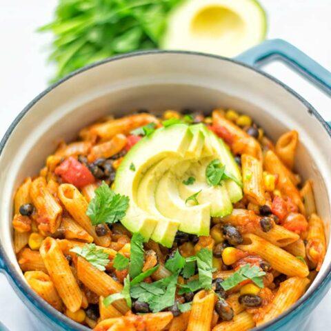 One Pot Taco Pasta | #vegan #glutenfree #cdairyfree #plantbased #contentednesscooking