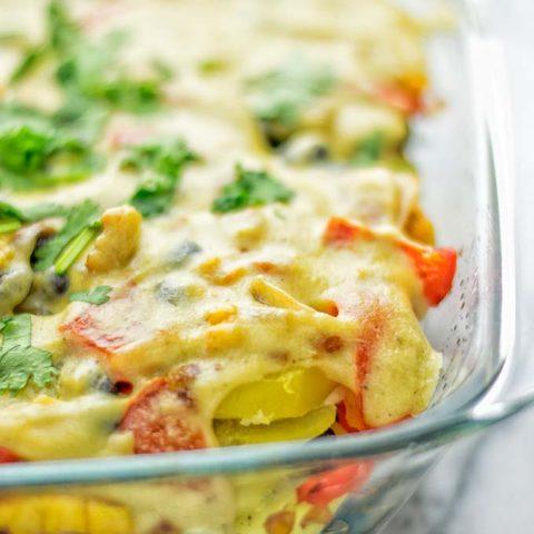 Southwest Potato Casserole   #vegan #glutenfree #dairyfree #plantbased #contentednesscooking