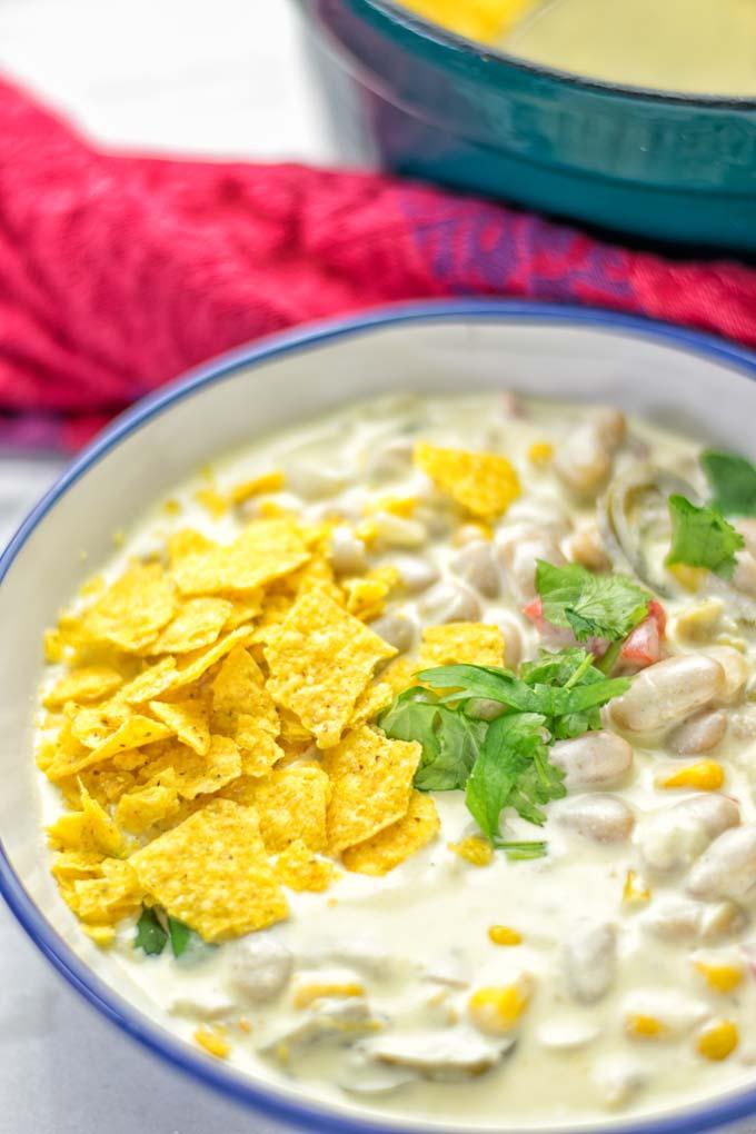 White Chili Taco Soup | #vegan #glutenfree #contentednesscooking #taco #soup