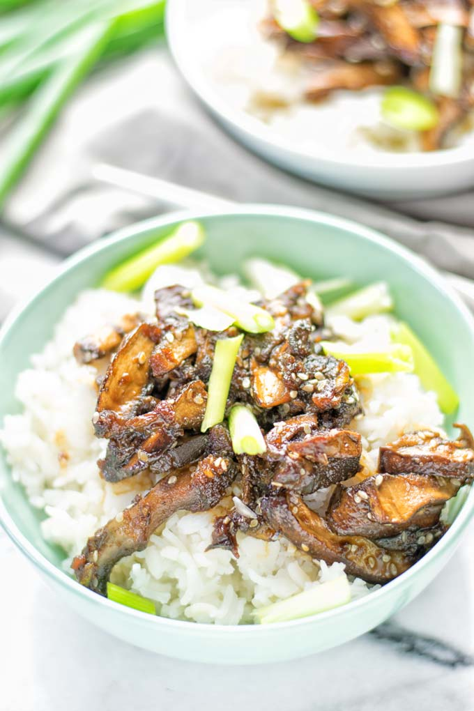 This Vegan Bulgogi is made with portobello mushrooms and inspired by Korean cuisine. It's hearty, naturally vegan, gluten free and so delicious for dinner, lunch, meal prep and so much more. #vegan #glutenfree #dairyfree #vegetarian #contentednesscooking #easyfood #mealprep #portobellomushrooms #koreanfood #bulgogimarinade #bulgogirecipe #lunch #dinner