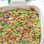 This Green Bean Casserole with Maple Pecans is insanely delicious and super easy to make with the best homemade cream of mushroom soup you can ask for. Entirely vegan, gluten free and so fantastic for dinner, lunch, meal prep, work lunch. An amazing dairy free alternative uses maple pecans instead of breadcrumbs. Perfect for holidays, Christmas. #vegan #glutenfree #dairyfree #vegetarian #dinner #lunch #mealprep #worklunchideas #contentednesscooking #holidaymeals #christmas #greenbeancasserole