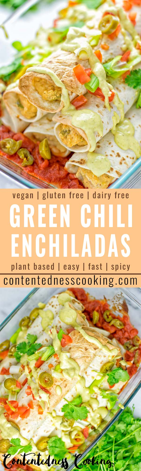 These Green Chili Enchiladas are entirely vegan, gluten free, super easy to make and so delicious. An amazing dairy free alternative for dinner, lunch, meal preparation, work lunch, potlucks, parties and so much more that the whole family will love. #vegan #glutenfree #dairyfree #contentednesscooking #dinner #lunch #mealprep #worklunchideas #easyfood #enchiladas #vegetarian #potluckrecipes #partyfood #mexican #greenchilirecipes