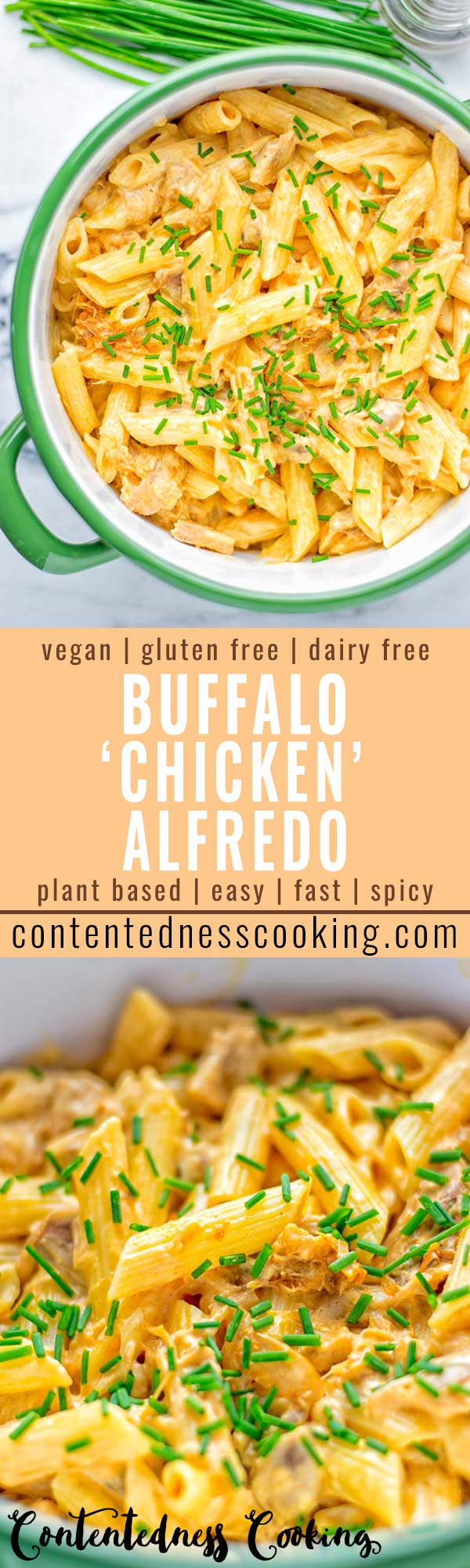 This Vegan Buffalo Chicken Alfredo is naturally plant based and glutenfree. The ultimate comfort food so easy for dinner, lunch, meal prep and work lunches. Try it now, from the first bite you will crave some more. #vegan #glutenfree #dairyfree #contentednesscooking #vegetarian #buffalorecipes #dinner #lunch #easyfood #mealprep #worklunchideas #alfredo #veganchicken #pasta #pastadishes #familyrecipes #comfortfood