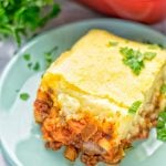Amazingly easy and super delicious: this Chickpea Lentil Shepherd's Pie is the ultimate comfort food and entirely vegan, gluten free. It's an amazing dairy free option for lunch, dinner, meal prep, work lunch and for sure the best thing on the holidays plus Christmas. #vegan #dairyfree #glutenfree #vegetarian #mealprep #worklunchideas #dinner #lunch #holidays #christmas #sherpherdspie #vegetariansherpherdspie #veganshepherdspie #contentednesscooking #thanksgiving