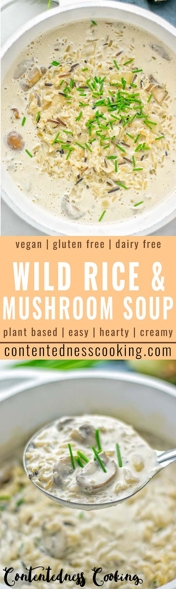 This Wild Rice and Mushroom Soup is entirely vegan, gluten free, and super easy to make in one pot. So amazing for the holidays, Christmas, dinner, lunch, meal preparation and work lunches. If you're looking for a super easy and delicious one pot meal, you will make this over and over again. #vegan #glutenfree #dairyfree #vegetarian #onepotmeals #holidays #christmas #contentednesscooking #mushrooms #soup #wildricesoup #mushroomsoup #dinner #lunch #mealprep #worklunchideas
