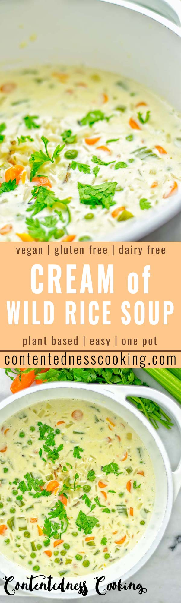 This Cream of Wild Rice Soup is entirely vegan, gluten free and super easy to make in one pot. An amazing soup for dinner, lunch, meal preparation, work lunch and the holidays that the whole family will love. #vegan #dairyfree #glutenfree #vegetarian #onepotmeals #soup #mealprep #worklunchideas #thanksgiving #holidays #contentednesscooking #wildricesoup #wildrice #wildricerecipes #dinner #lunch