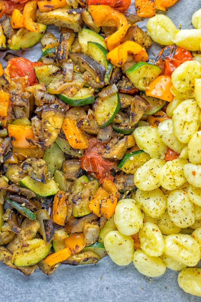 This Sheet Pan Ratatouille Gnocchi are super easy to make and naturally vegan, gluten free. It's made on a sheet pan which is a breeze for dinner, lunch, meal prep and work lunches. Try it now and the whole family will love it. #vegan #dairyfree #glutenfree #vegetarian #gnocchi #ratatouille #sheetpanmeals #contentednesscooking #dinner #lunch #mealprep #worklunchideas #familyfood #newyearhealtyeating
