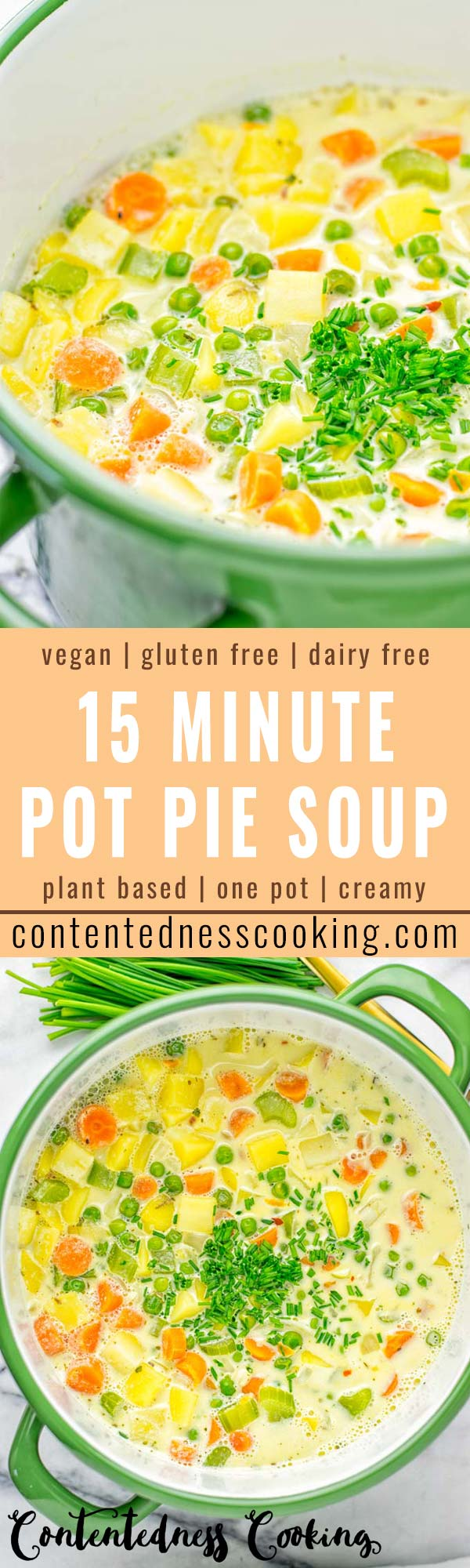You won't believe this Vegan Pot Pie Soup is ready in 15 minutes. No one would guess it's vegan, gluten free, and dairy free. It's a satisfying meal made in one pot for lunch, dinner, meal prep even work lunches that you and your family will love. A time saving meal that is also a keeper for the holidays and Christmas. #vegan #glutenfree #dairyfree #vegetarian #onepotmeals #christmasfood #contentednesscooking #mealprep #dinner #lunch #worklunchideas #15minutemeals #holidaychristmas