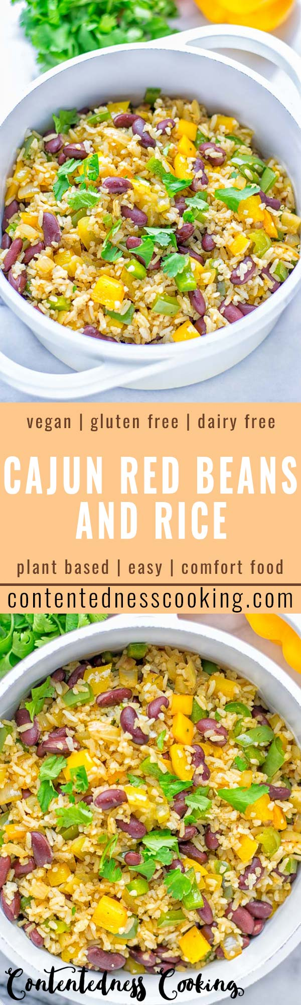This Cajun Red Beans and Rice is an amazing one pot meal which is naturally vegan, gluten free. It's packed with bold and fantastic flavors the whole family will love for dinner, lunch, meal prep and work lunch and so much more. Once you've tried this you can't stop eating it so easy to make! #vegan #dairyfree #glutenfree #vegetarian #onepotmeals #dinner #lunch #worklunchideas #budgetmeals #contentednesscooking #cajunbeansandrice #mealprep