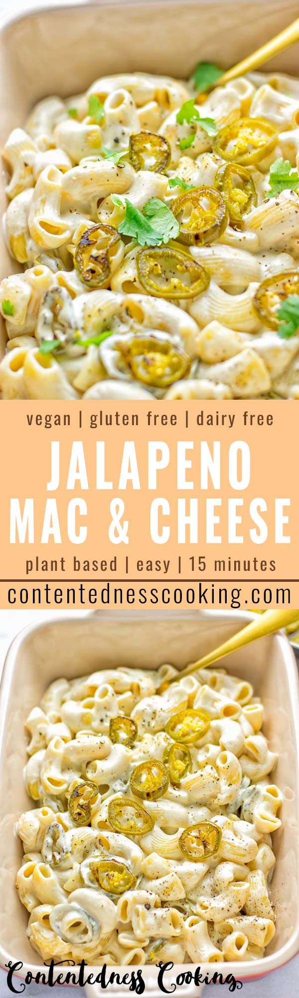 This Jalapeno Mac and Cheese is super easy to make and in 15 minutes on the table! It's creamy and perfectly spicy and entirely vegan, gluten free. An amazing option for dinner, lunch, meal prep, work lunch and so much more that the whole family will love. Try it for yourself and know this will be a staple in any house. #vegan #dairyfree #glutenfree #contentednesscooking #macandcheese #jalapeno #dinner #lunch #mealprep #worklunchideas #15minutemeals #familyfood #comfortfood