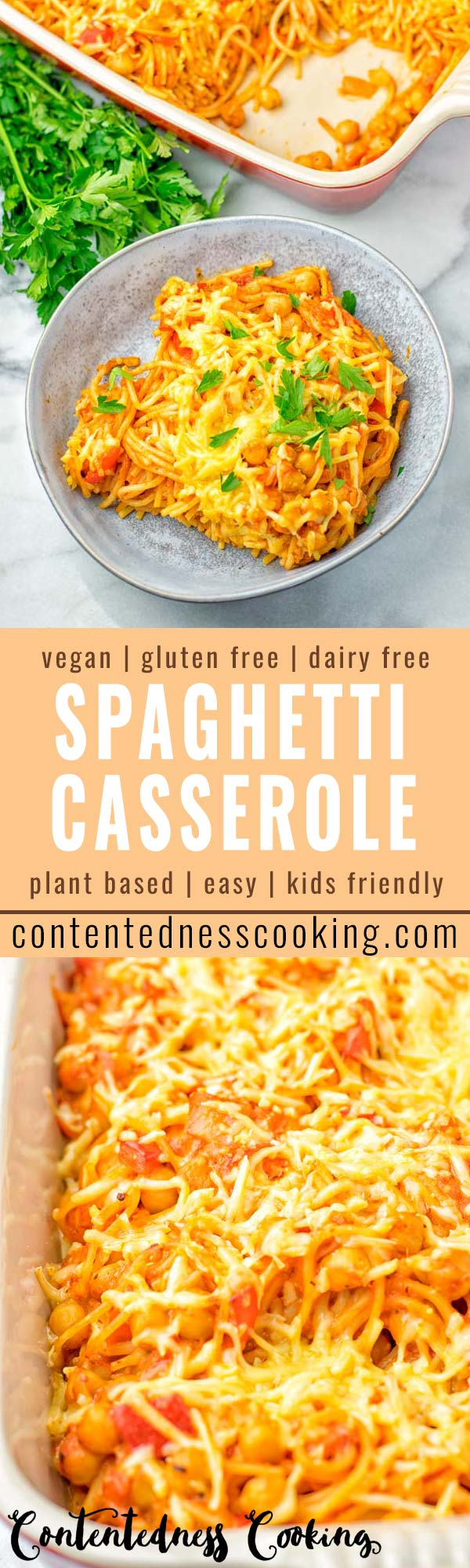 This Spaghetti Casserole is entirely vegan and gluten free. It's super easy to make and super satisfying for all your dinner, lunch meal prep, work lunch ideas, kid friendly means that the whole family will love. Once you've tried it you know you wanna eat it every day. #vegan #dairyfree #glutenfree #vegetarian #contentednesscooking #spaghetticasserole #dinner #lunch #mealprep #worklunchideas #kidfriendlydinners #familydinnerideas #quickeasydinner