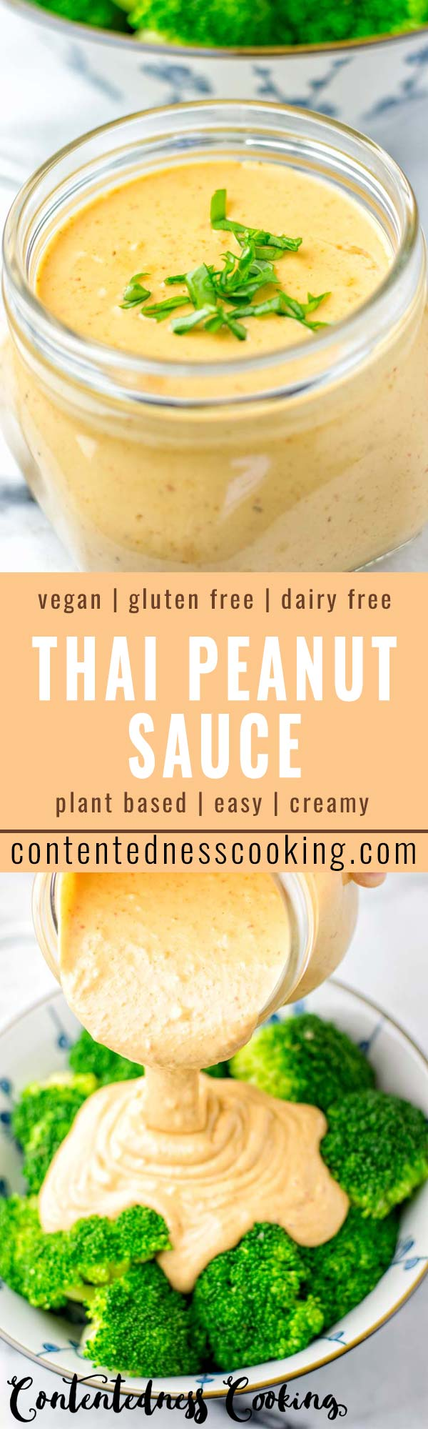 This Thai Peanut Sauce with Basil is naturally vegan, gluten free and super easy to make in less than 5 minutes. So versatile and a keeper for all your veggies, pasta and of course for your salads as a Thai Peanut dressing. Also the best for dinner, lunch, meal preparation and work lunches. #vegan #dairyfree #glutenfree #contentednesscooking #dinner #lunch #worklunchideas #vegetarian #thaipeanutsauce #budgetfriendlymeals #familydinnerideas