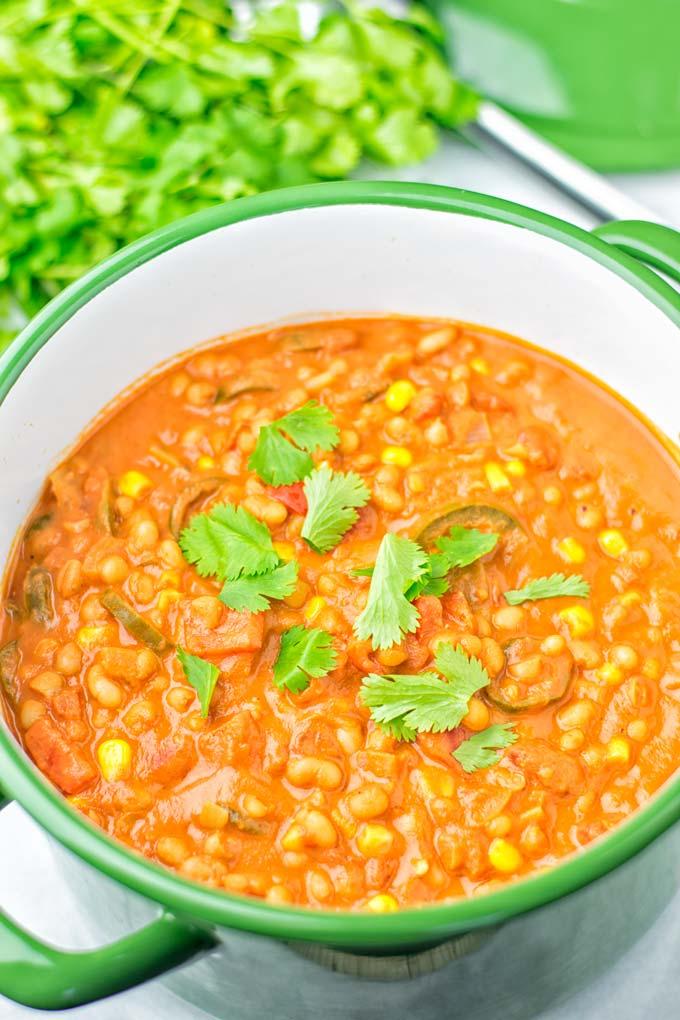 Cilantro topping on the white bean chili.