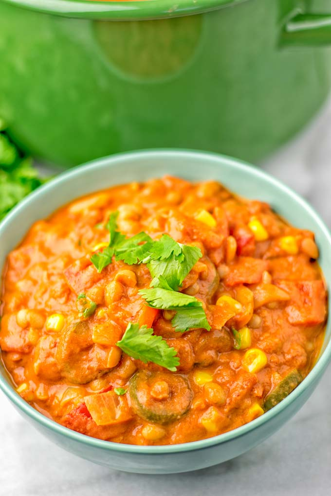 Closeup of the Vegetarian White Bean Chili in a bowl.
