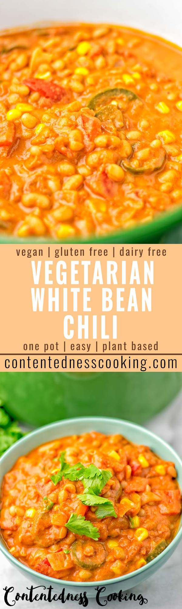This Vegetarian White Bean Chili is made in one pot and naturally vegan, gluten free. It is super easy to make and packed with fantastic flavors. So amazing for dinner, lunch, meal prep, work lunches and so much more. Try it now and wow yourself #vegan #glutenfree #dairyfree #vegetarian #onepotmeals #chili #dinner #lunch #mealprep #worklunchideas #bugdetmeals #contentednesscooking #familydinnerideas #kidsdishes