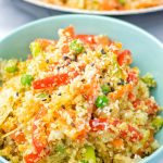 Closeup of Cauliflower Fried Rice showing vegetables.