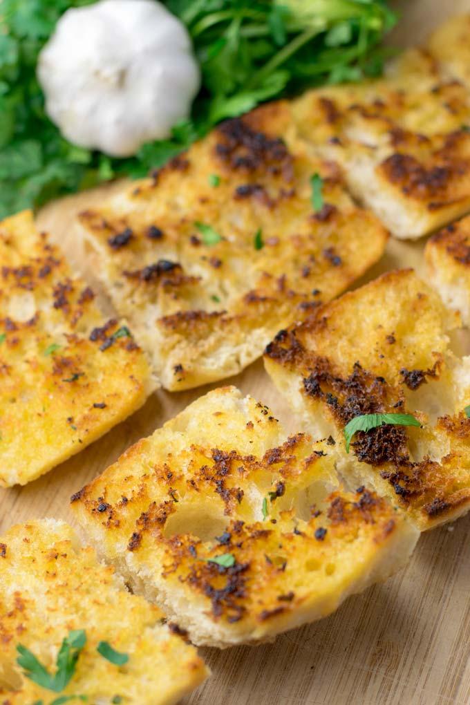 Crunchy Garlic Bread slices.