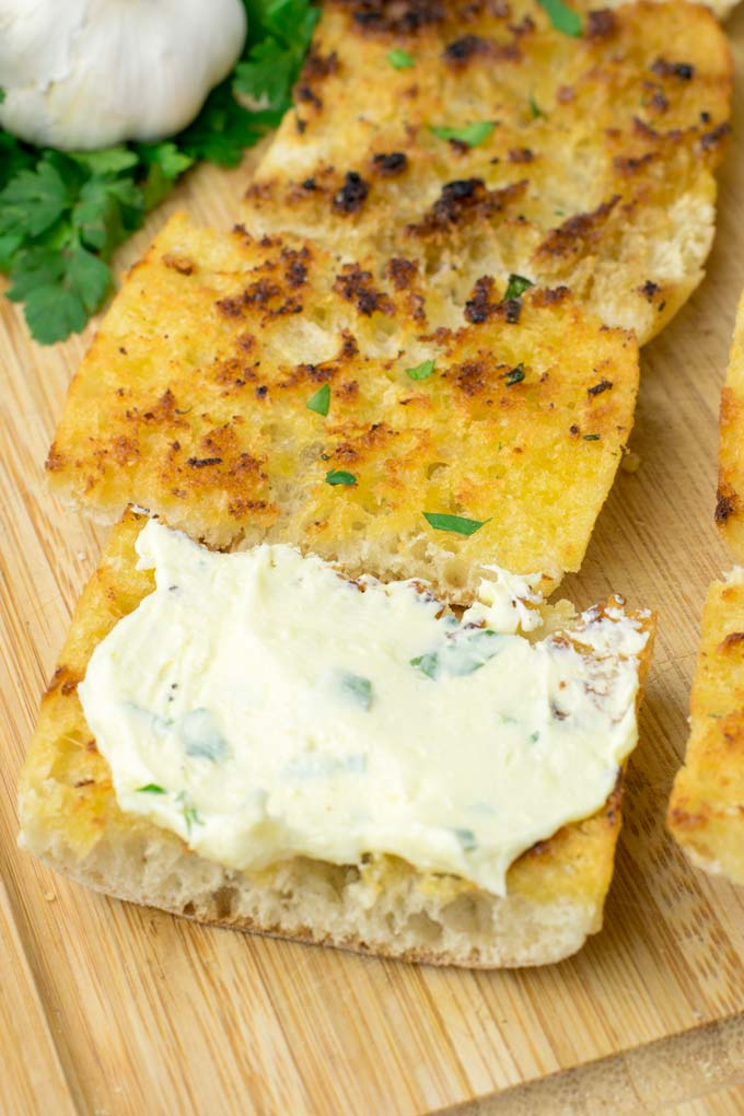 Garlic Butter on toasted bread.