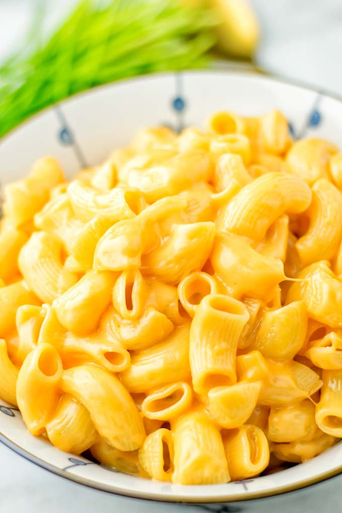 Closeup view of Instant Pot Mac and Cheese.