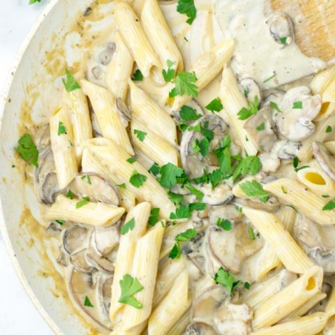 Parsley covered portion of pasta.