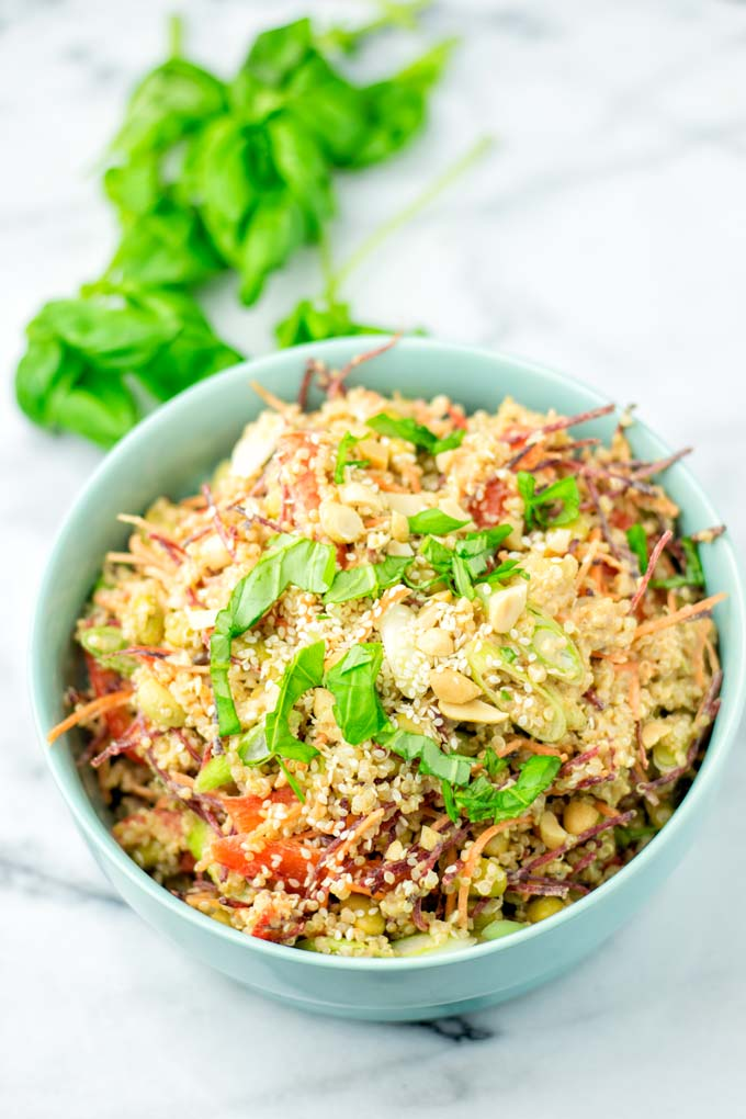 Closeup view of the Thai Quinoa Salad in a light blue bowl.