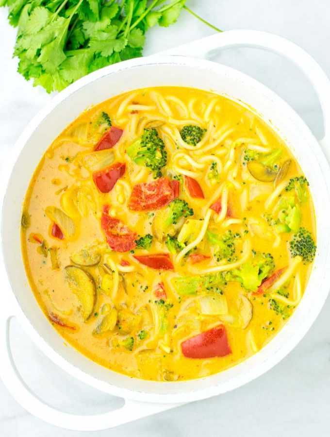 Top view of the Coconut Curry Noodle Soup.