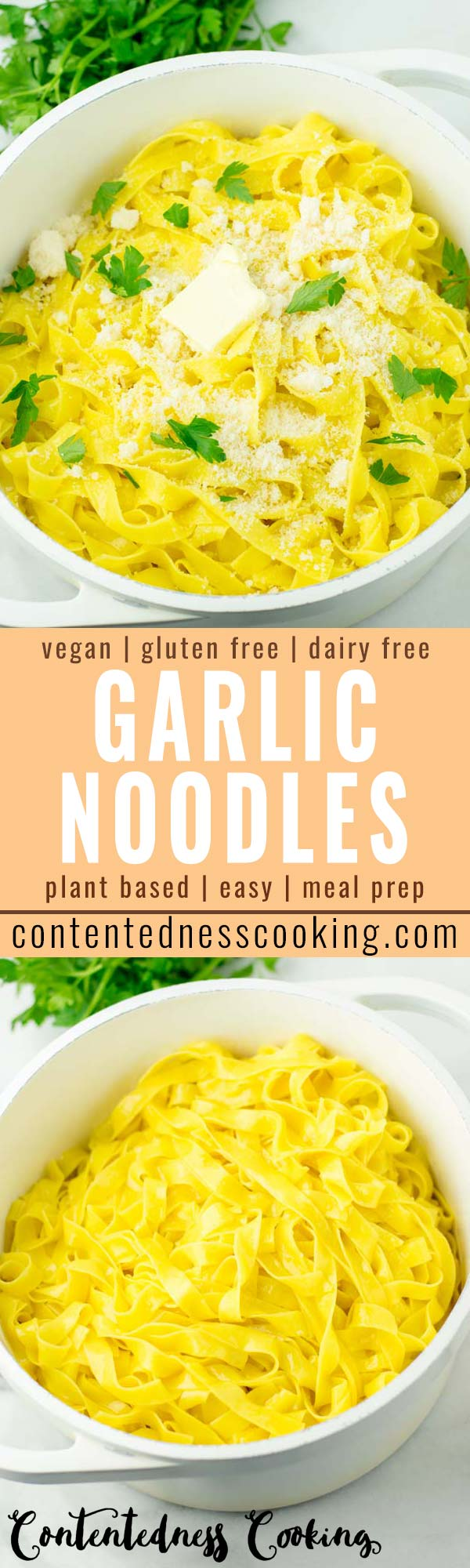 This garlic noodles are super easy to make and so satisfying! No one would ever guess it is vegan and even gluten free. Even your kids will love this pasta in no time. #vegan #dairyfree #glutenfree #vegetarian #garlicnoodles #budgetmeals #kidsmealsideas #familydinner #comfortfood #mealprep #worklunchideas #contentednesscooking