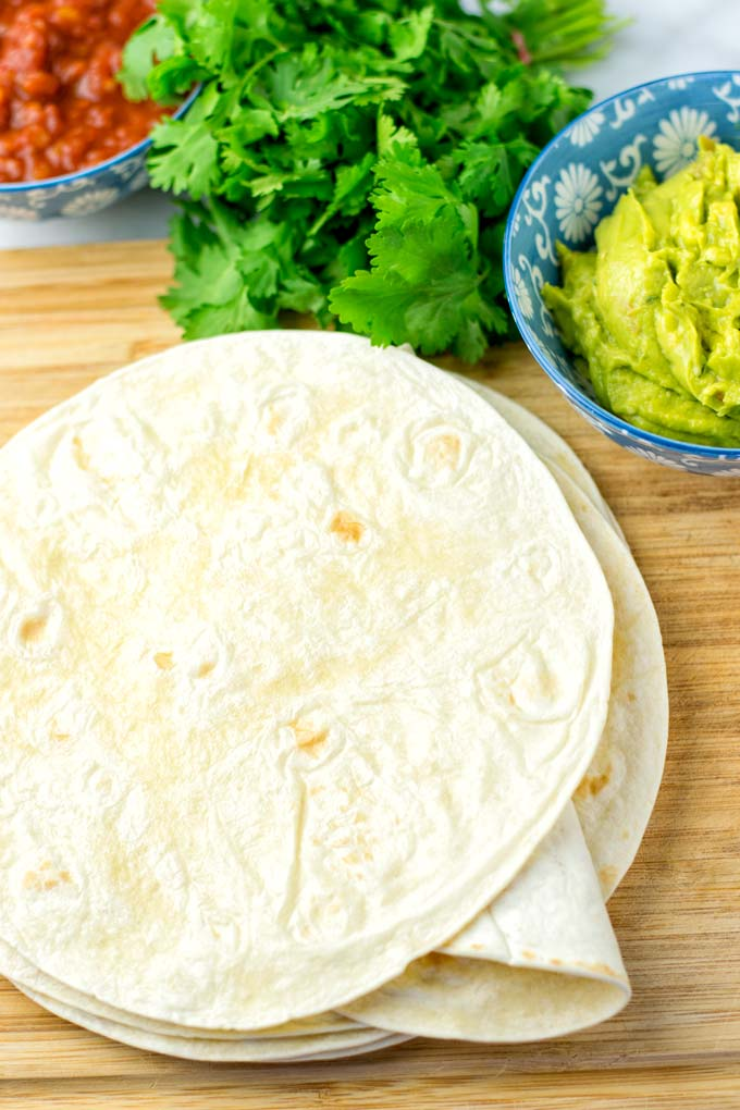 Gluten Free Tortillas ready to be mixed with guacamole and salsa.