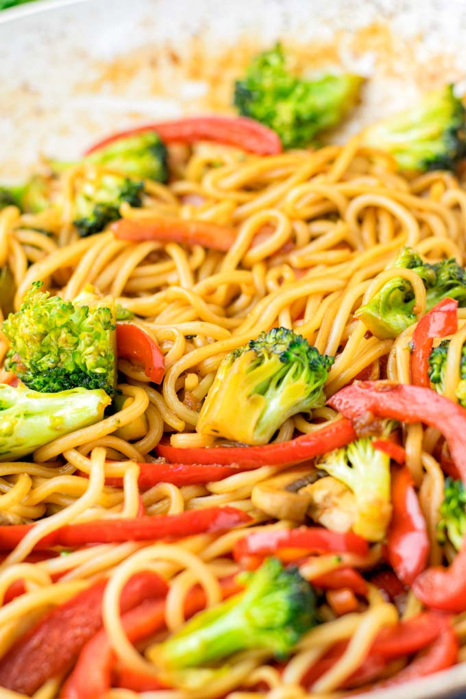 Pan with the cooking stir fry noodles.