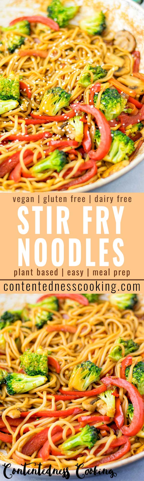 These Stir Fry Noodles are made with a homemade stir fry sauce and done in no time. It is a one pot meal, which is naturally vegan, gluten free and so delicious that the whole family will love it. #vegan #dairyfree #glutenfree #vegetarian #onepotmeals #contentednesscooking #dinner #lunch #mealprep #stirfrynoodles