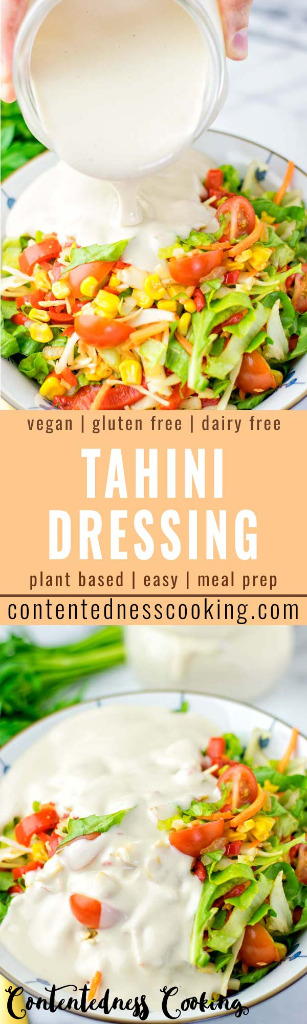 This Tahini Dressing is so delicious and easy to make. It is perfect over salad, makes any bland salad taste like a gourmet meal. It's also so versatile for pasta, potatoes and more. A keeper for dinner, lunch, meal prep ideas or just to make your vegetables so delicious. #vegan #dairyfree #vegetarian #glutenfree #tahinidressing #salad #pasta #dinner #lunch #mealprep #budgetmeals #comfortfood #contentednesscooking