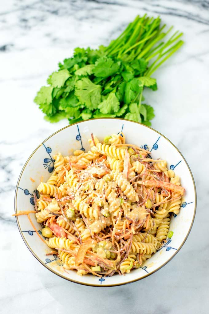 Spiral noodles and fresh vegetables make this Thai Noodle Salad.