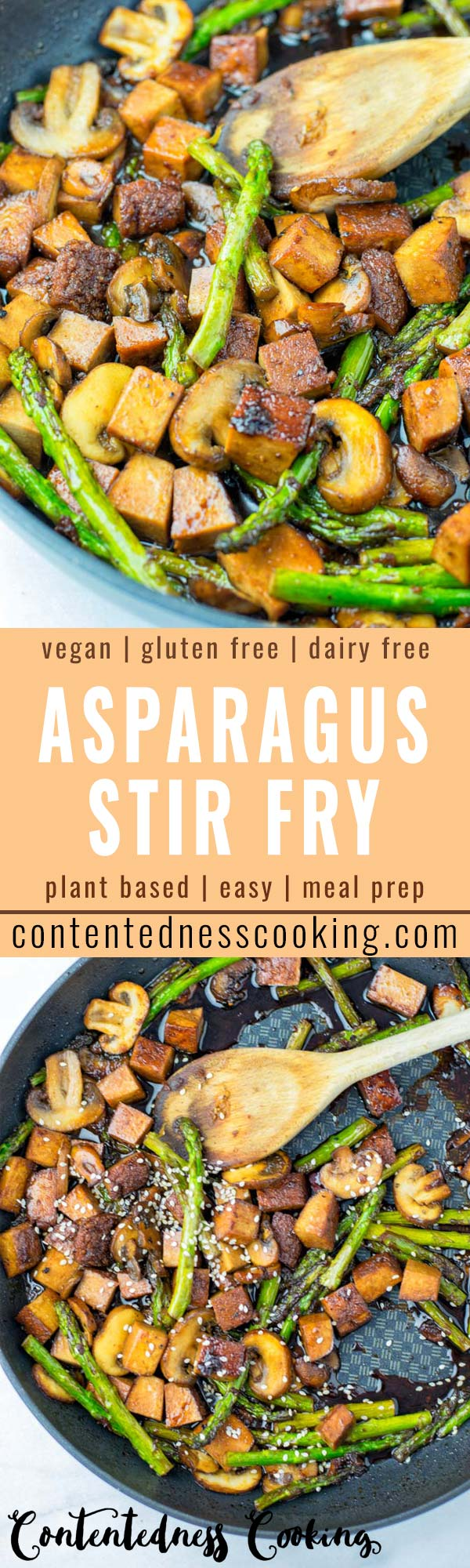 This vegan Asparagus Stir Fry is super easy. Looking to cook more veggies for your families? This healthy lunch or dinner is made with tofu, a soy sauce, and extra mushrooms. Ideal for meal prep, it reheats perfectly as work lunch.